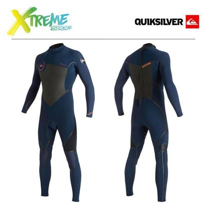 Pianka Quiksilver SYNCRO LFS 4/3 BACK ZIP WETSUIT Ink Blue/Black