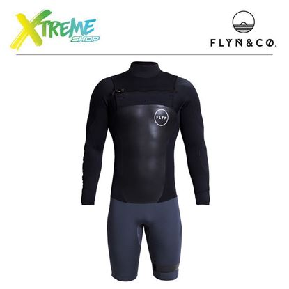 Pianka Flyn Wetsuit Short Black/Grey Man 3.2mm 1