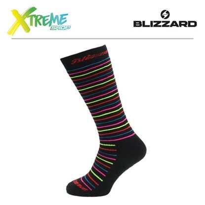 Skarpety Blizzard VIVA ALLROUND SKI SOCKS Black/Rainbow Stripes