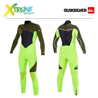 Pianka Quiksilver BOY'S SYNCRO 3/2 BACK ZIP FULL WETSUIT Fluorescent Lime/Ivy