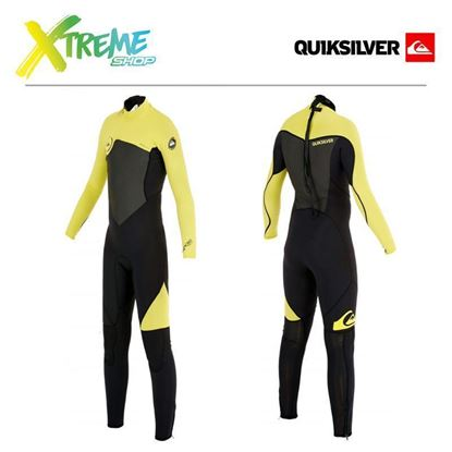 Pianka Quiksilver BOY'S SYNCRO 3/2 BACK ZIP FULL WETSUIT Black/Yellow