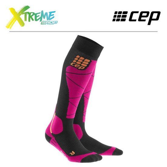 Skarpety kompresyjne CEP SKI MERINO SOCKS WOMEN Black/Pink