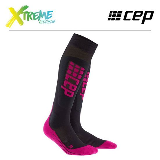 Skarpety kompresyjne CEP SKI ULTRALIGHT SOCKS WOMEN Black/Pink