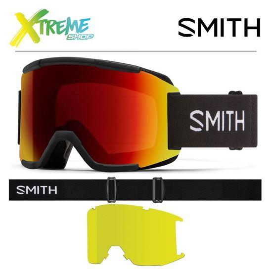 Gogle Smith SQUAD Black - ChromaPop Sun Red Mirror + Yellow
